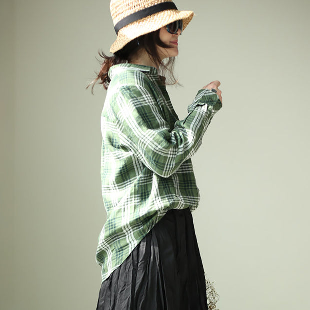 Plus Size Women Plaid Casual Linen Green Shirt