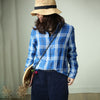 Plus Size Women Plaid Preppy Style Blue Shirt