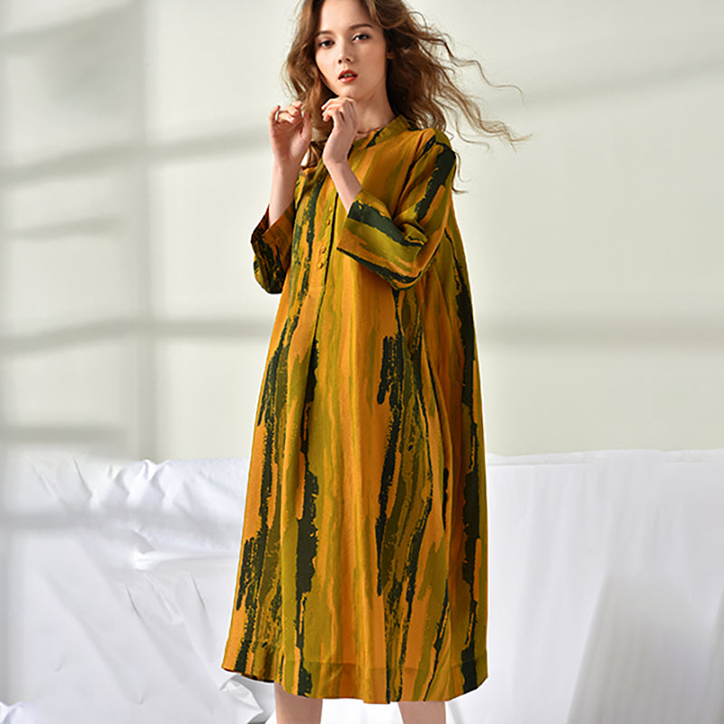 Plus Size Women Printing Loose Midi Dress