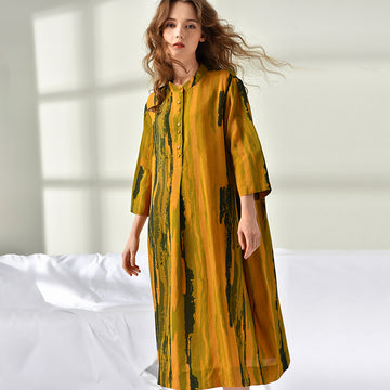 Buykud Plus Size Women Printing Hand-Made Dress