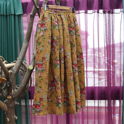 Plus Size Women Spring Casual Floral Loose Skirt