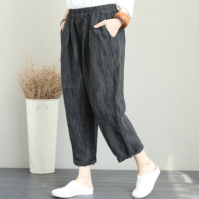 Plus Size Women Stripe Linen Harem Pants