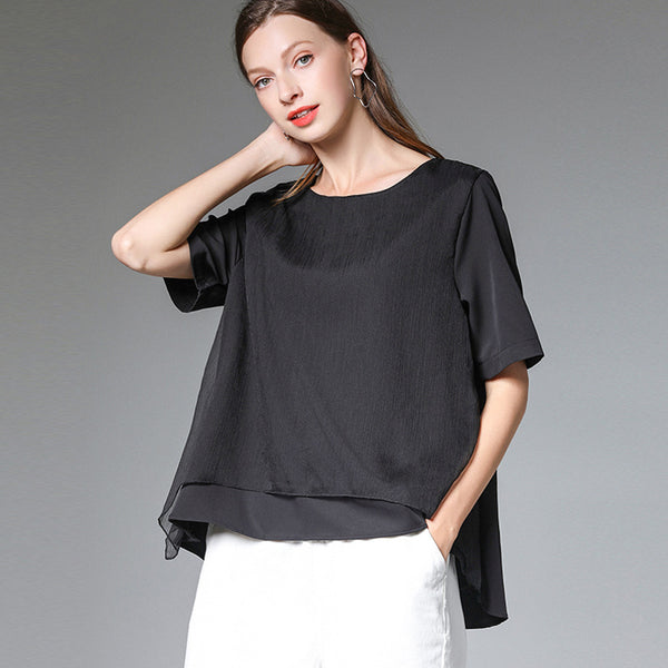 Plus Size Womens Summer Casual Loose Chiffon Spliced Top