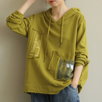 Pocket Patchwork Drawstring Sweatshirt
