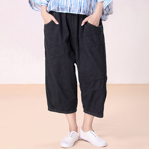 Pocket Jeans Calf Length Autumn Pants