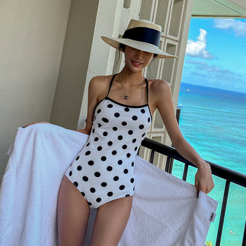 Polka Dot Backless One-piece Swimwear