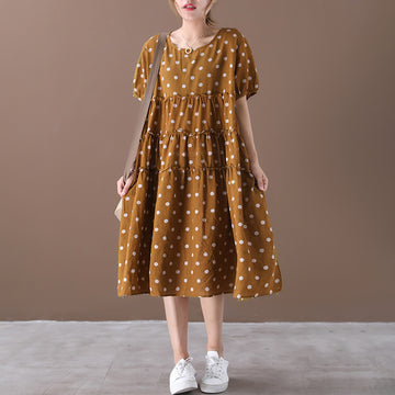 Polka Dot Loose Splicing Midi Dress