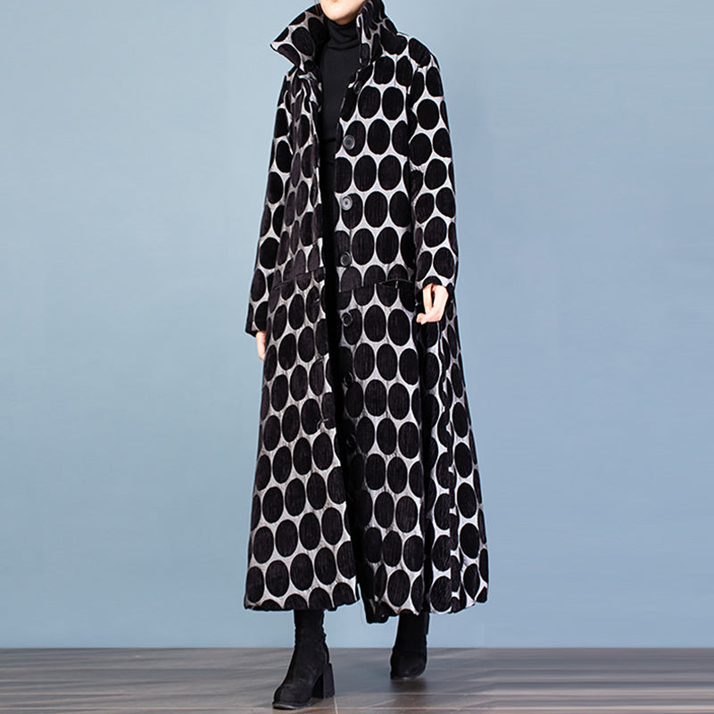 Polka Dot Fashion Elegant Winter Coat