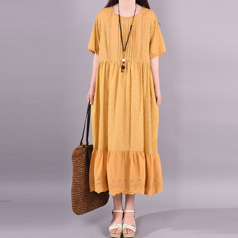Polka Dot Hollow Out Casual Loose Dress
