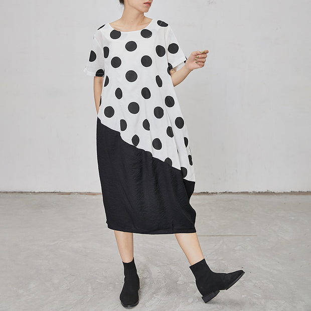 Polka Dot Irregular Spliced Loose Midi Dress