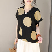 Polka Dots Women Linen Black Summer Blouse