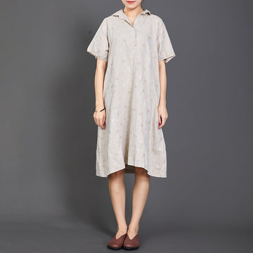 Polo Collar Dots Short Sleeve Loose Dress