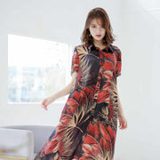 Polo Collar Floral Printed Summer Dress