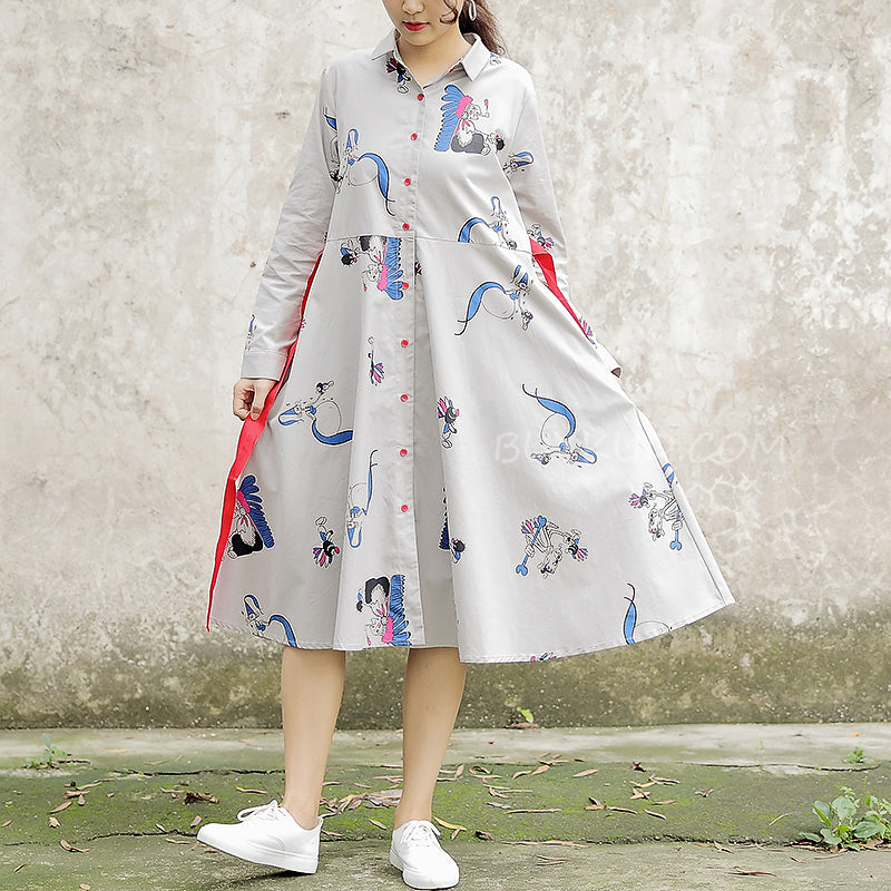 Polo Collar Long Sleeve Cartoon Printed Cotton Dress