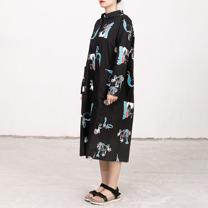 Polo Collar Long Sleeve Printed Black Pleated Dress