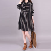 Polo Neck Stripe Spring Knee-length Dress