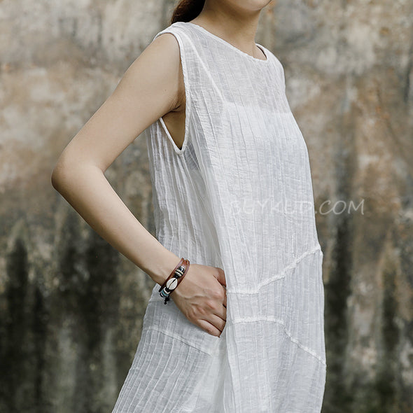 Polyester Sleeveless White Dress With Vest
