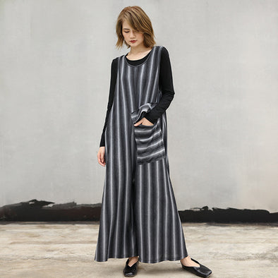Polyester Striped Autumn O-Neck Loose Women Jumpsuit