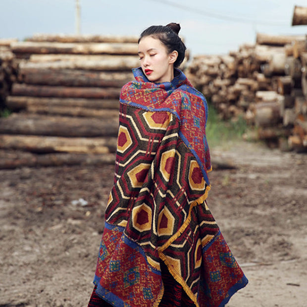 Print Ethnic Thick Large Scarf And Cape