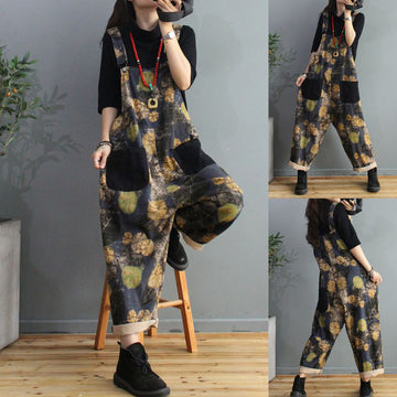 Print Pocket Adjustable Shoulder Straps Jumpsuit