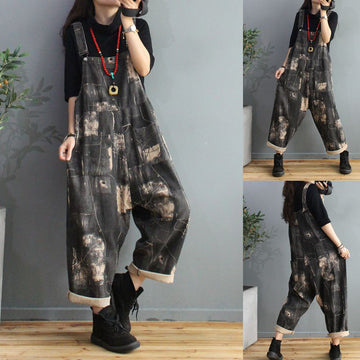 Print Pocket Adjustable Shoulder Straps Overalls