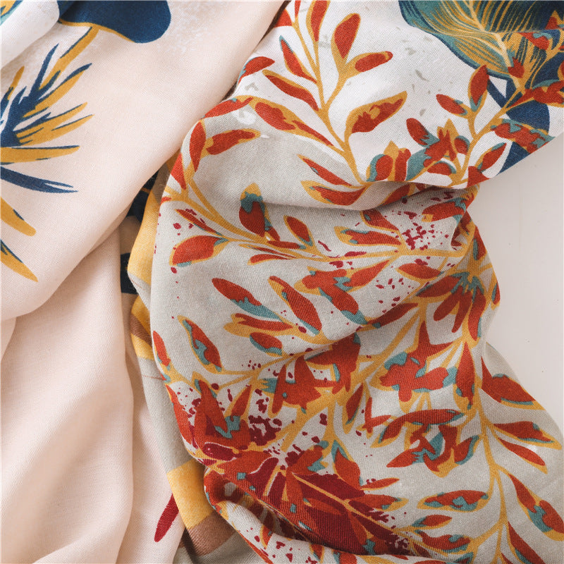 Plant Print Sunscreen Shawl Cotton Scarves