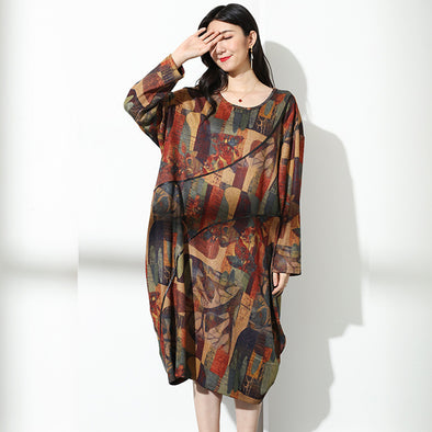 Print Autumn Casual Polyester Knee-Length Loose Dress