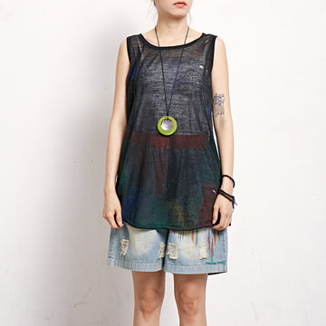 Print Casual Cotton Linen Sleeveless Top