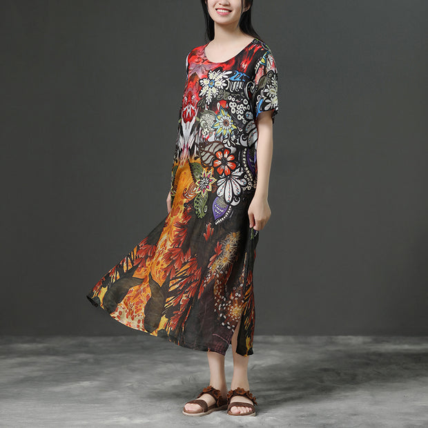 Print Commuter Linen Short Sleeve Dress