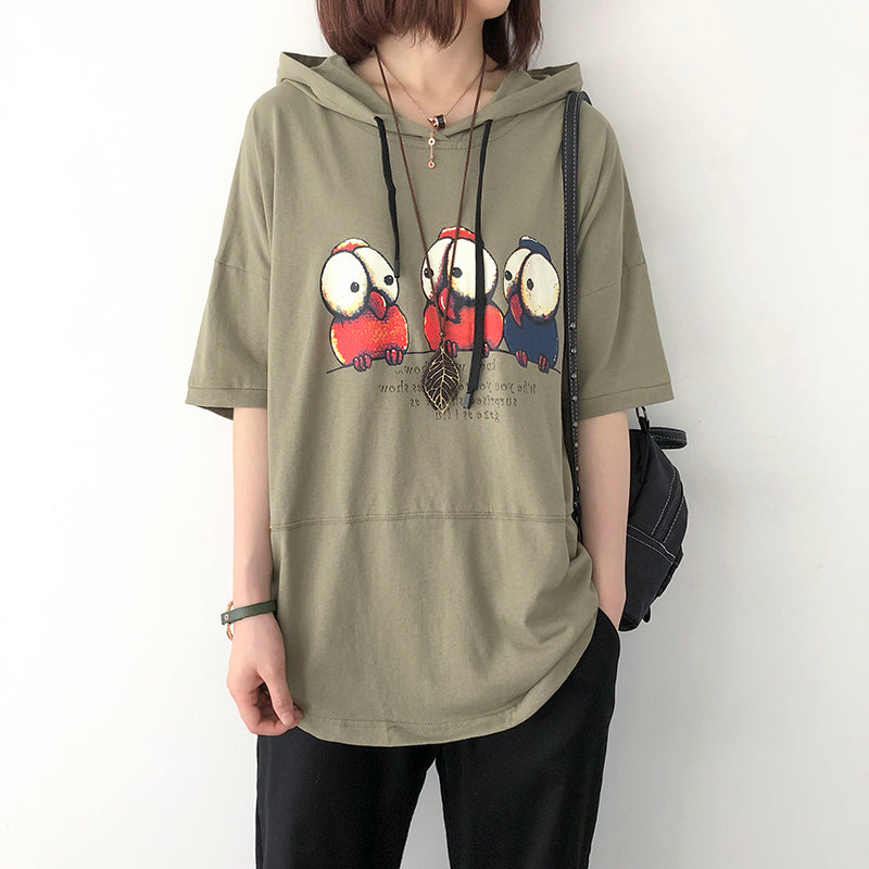 Print Cotton Casual Hooded Short Sleeve Blouse