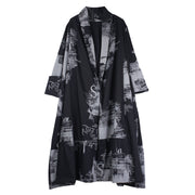 Print Cotton Loose Long Sleeve Plus Size Coat