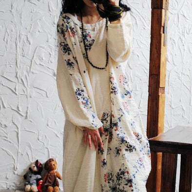 Print Flower Casual Cotton And Linen Dress