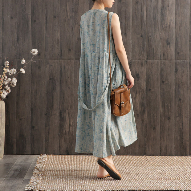 Print Folded Lacing Casual Loose Dress
