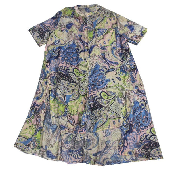 Print High Low Hem Retro Soft Blouse