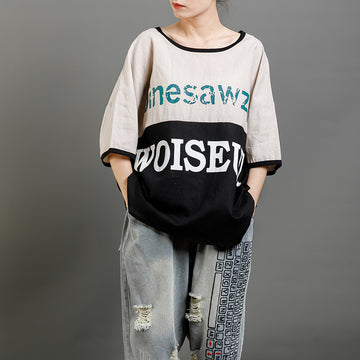 Print Letter Casual Cotton Short Sleeve Blouse