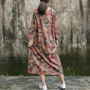 Print Long Sleeve Plus Size Loose Dress