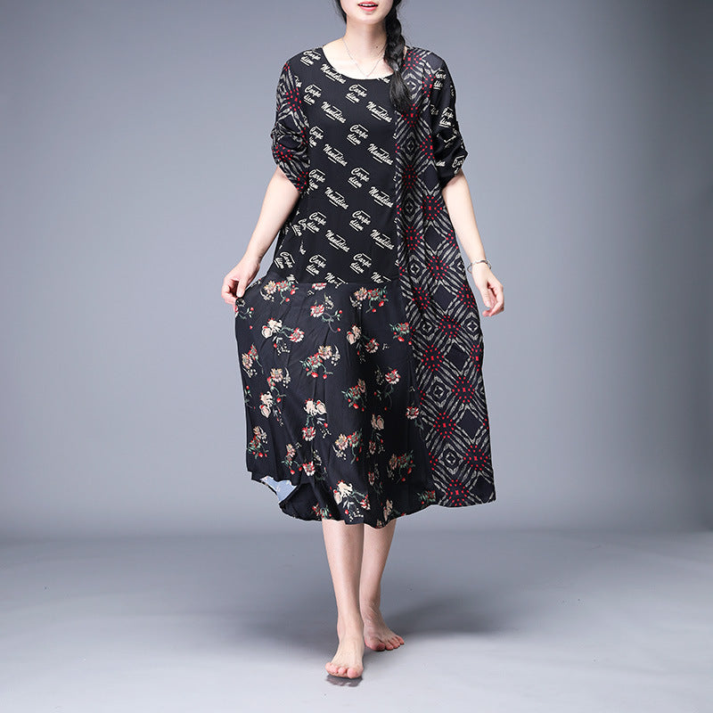Print Mulberry Silk Spliced Irregular Dress