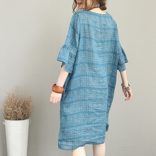 Print Ramie Round Neck Flare Sleeve Dress