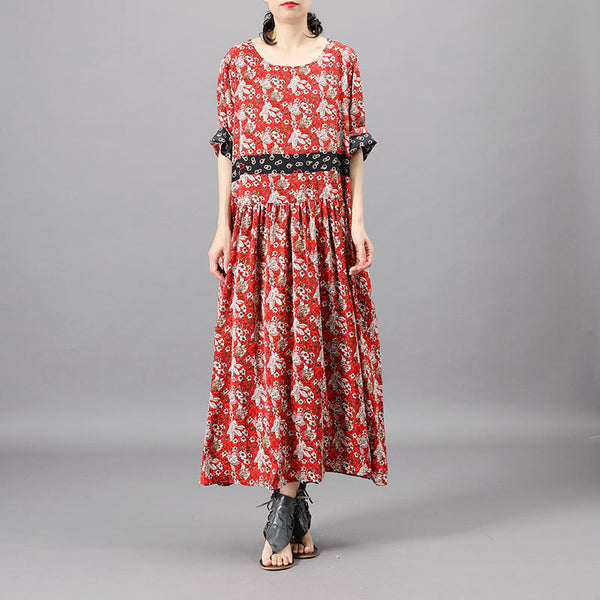 Print Round Neck Mulberry Silk Dress