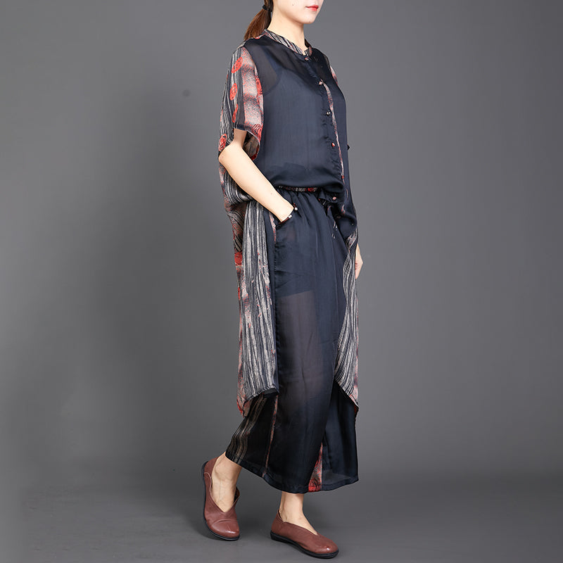 Print Short Sleeve Blouse And Wide Leg Pants