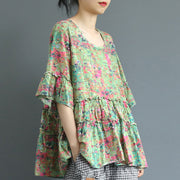 Print Spliced Cotton Linen Short Sleeve Blouse