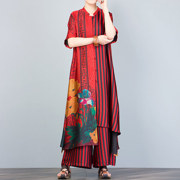 Print Spliced Short Sleeve Blouse And Wide Leg Pants