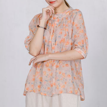Print Stand Collar  Casual Women Blouse