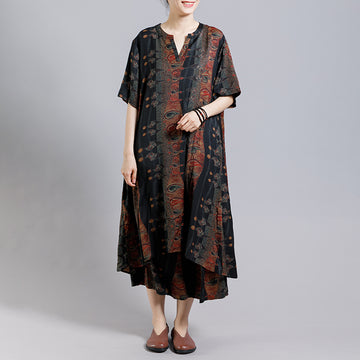 Print Stand Collar Irregular Blouse And Wide Leg Pants