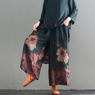 Print Stand Collar Silk Dress And Wide Leg Pants