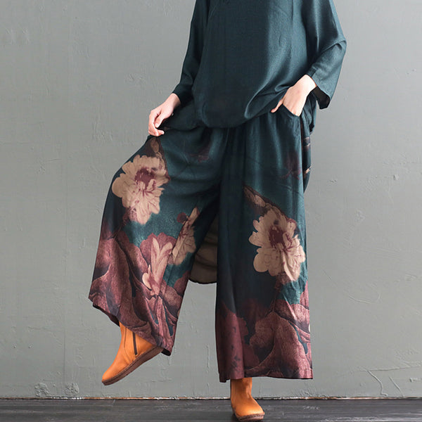 Print Stand Collar Vintage Dress And Wide Leg Pants