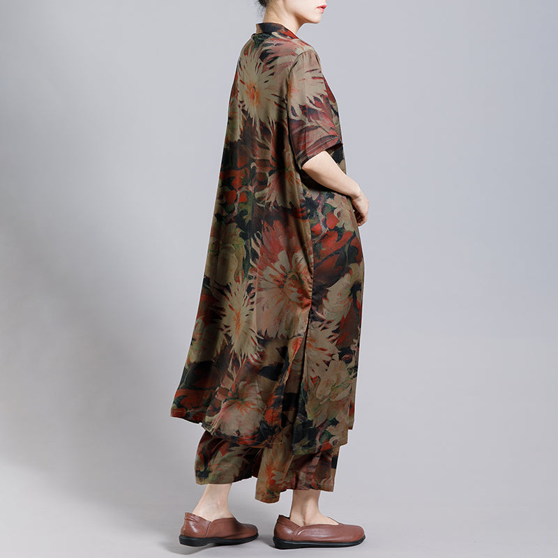 Print Vintage Short Sleeve Coat And Wide Leg Pants