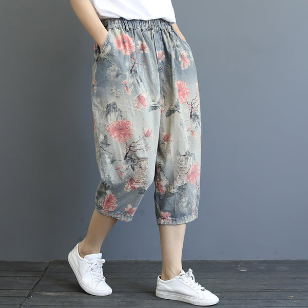Print Washed Hole Loose Harem Jeans