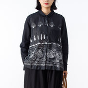 Print Women Elegant Linen Shirt Long Sleeve