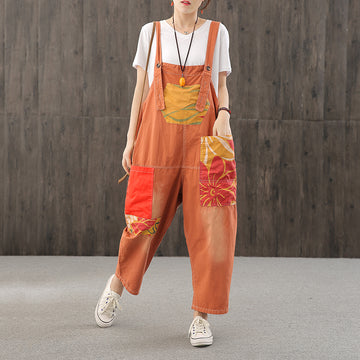 Printed Patchwork Contrast Color Loose Cotton Overalls